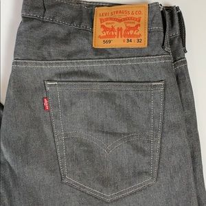 Levi's 569 Straight Fit Jeans Grey 34 x 32 NWOT